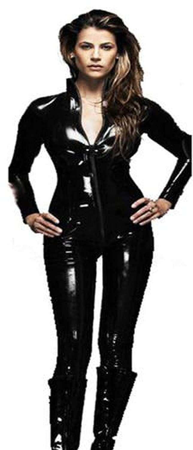 e652ae06e09 Forever Young PVC Catsuit Cat Woman Catfight Costume Fancy Dress Bodysuit   Amazon.co.uk  Clothing