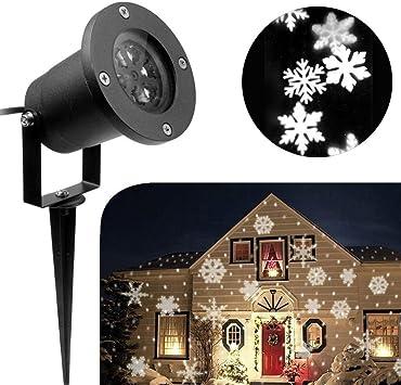 iusun Navidad copo de nieve proyector de luz exterior resistente ...