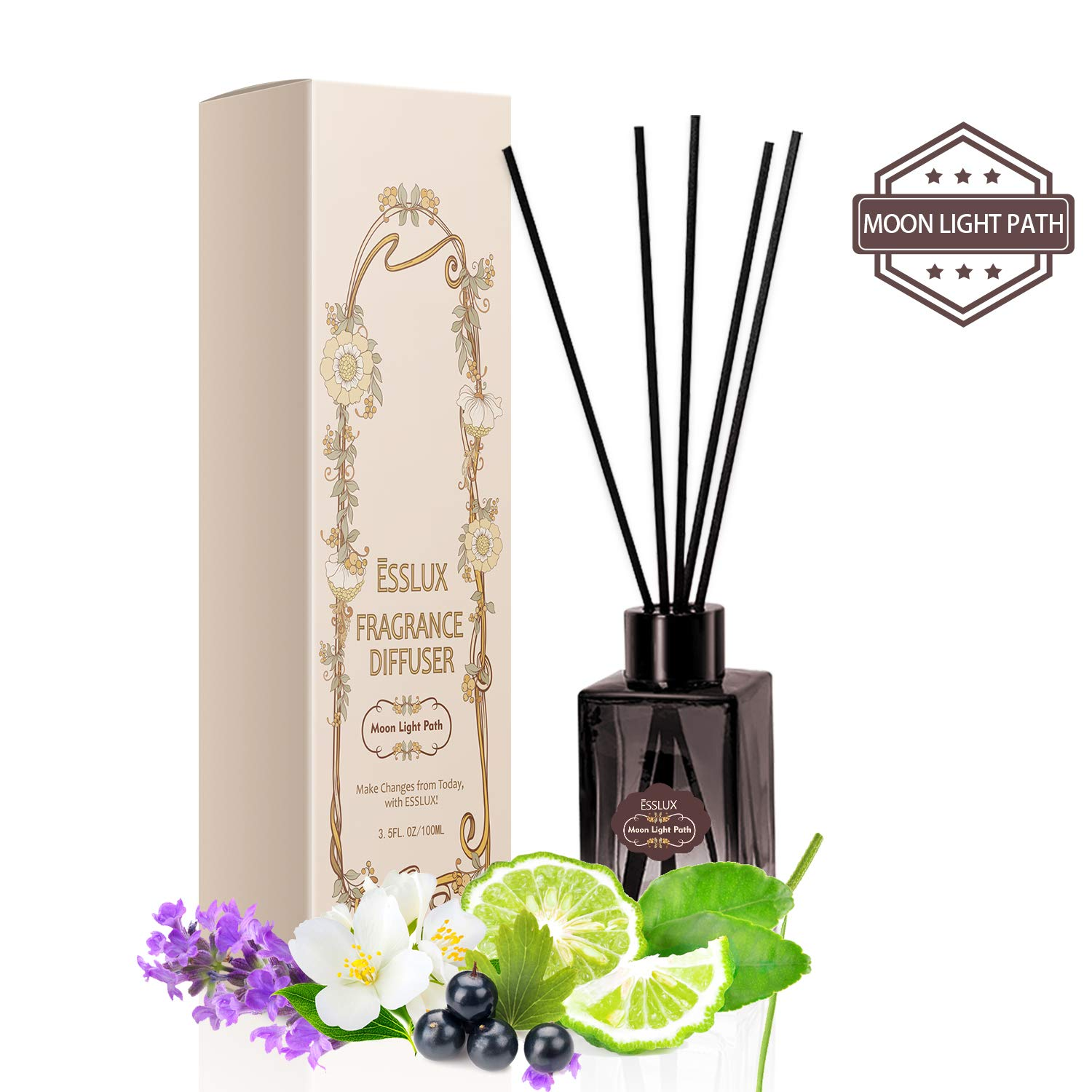 ESSLUX Room Diffuser, Oil Reed Diffuser Premium Quality for Home and Office, Air Freshener & Home Decor & Ideal Gift-Moon Light Path by ESSLUX