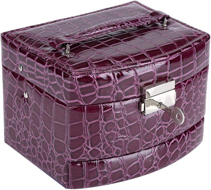 huhushop Caja de Joyería de 3 Capas con Espejo y Mango Caja Joyero para Collar Anillos Collar Broches Pulsera(Purple)
