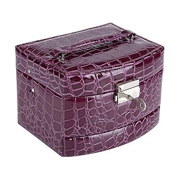 Caja de Joyería de 3 Capas con Espejo y Mango Caja Joyero para Collar Anillos Collar Broches Pulsera(Purple): Amazon.es: Juguetes y juegos