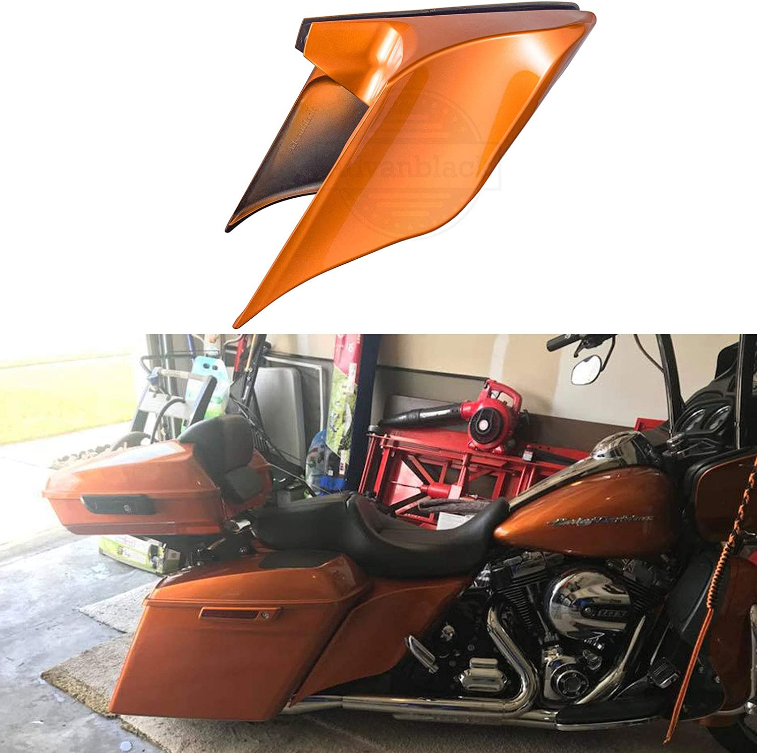 Hard Candy Hot Rod Red Flake 4 1//2 Stretched Rear Fender Extension Filler Kit Flare Fit for Harley Touring Road King Special Street Glide Special Road Glide Special 2018