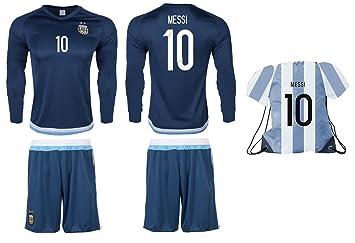 Camiseta de fútbol de la Argentina Messi #10 y pantalones cortos en Messi # 10
