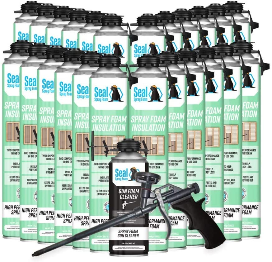 Seal Spray Foam High Performance Closed Cell Insulating Foam Can Kit w/Gun Foam Applicator and 1 Can of Cleaner (600 Board FT-24 Cans)