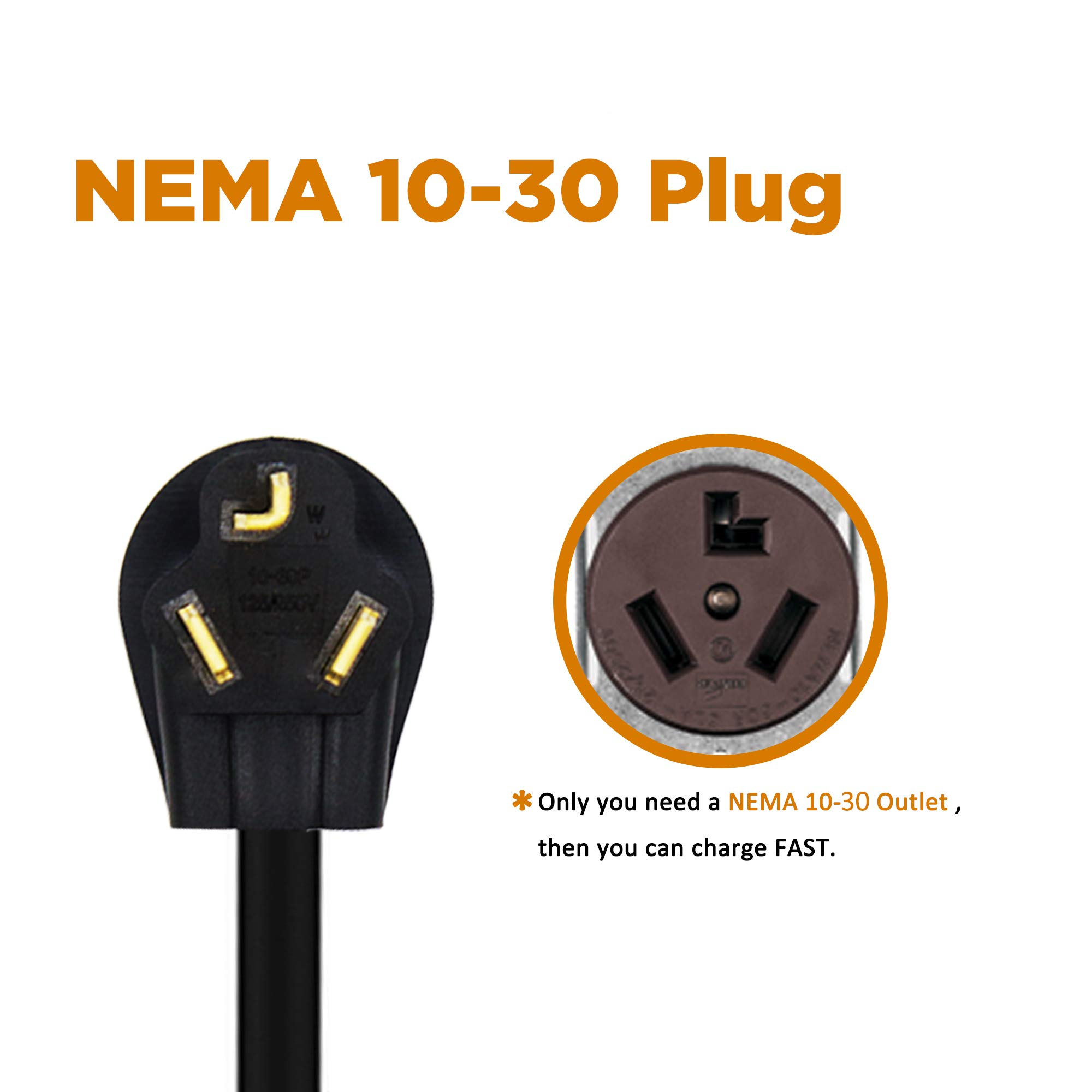 MUSTART Level 2 Portable EV Charger (240 Volt, 25ft Cable, 26 Amp), Electric Vehicle Charger Plug-in EV Charging Station with NEMA 10-30P by MUSTART (Image #4)