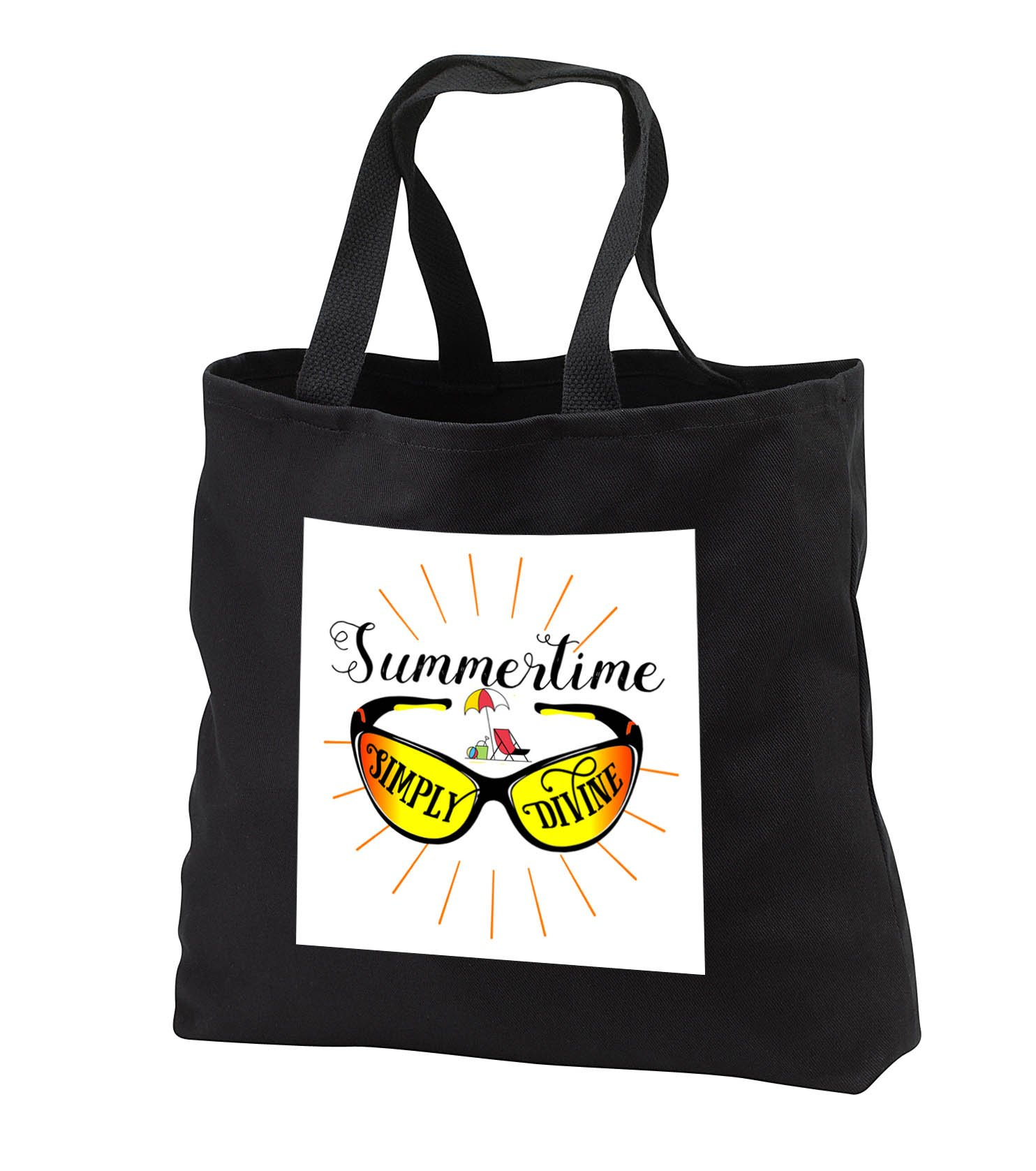 Doreen Erhardt Summer - Summertime Simply Divine Sunglasses Typography for Summer Fun - Tote Bags - Black Tote Bag JUMBO 20w x 15h x 5d (tb_286326_3)