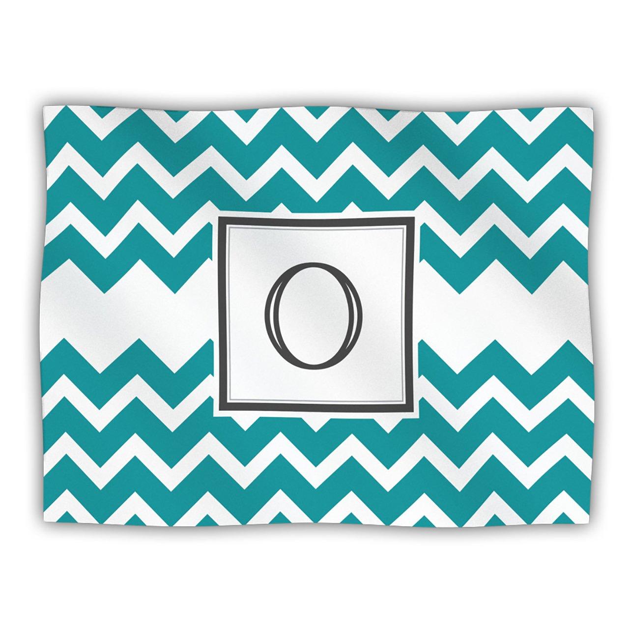 Kess InHouse Kess Original 'Monogram Chevron Teal Letter O' Dog Blanket, 40 by 30-Inch