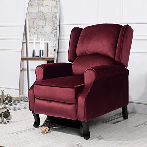 Geniqua Velvet Fabric Manual Push Back Living Recliner Chair Single Sofa Room Couch Lounge Furniture