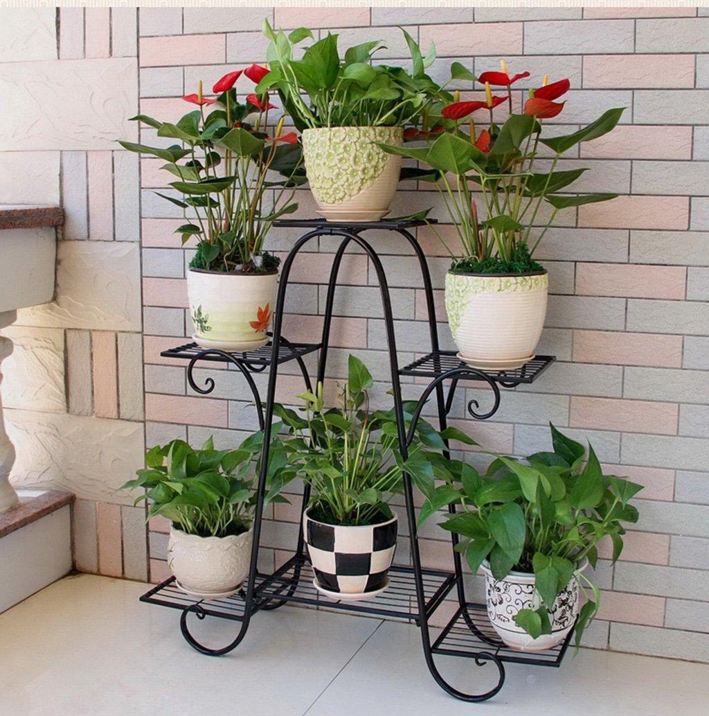 文明的な店-屋外ハーブフラワースタンド/フラワーラック - 6階の鉄の金属の植物鉢植えポットのための棚を立てる安定した植物スタンドバルコニー/リビングルーム/屋外/屋内庭装飾のガーデンストレージシェルフ(3色) (色 : ブラック, サイズ さいず : 76*23*73cm) B07CSRWCP8 76*23*73cm|ブラック ブラック 76*23*73cm