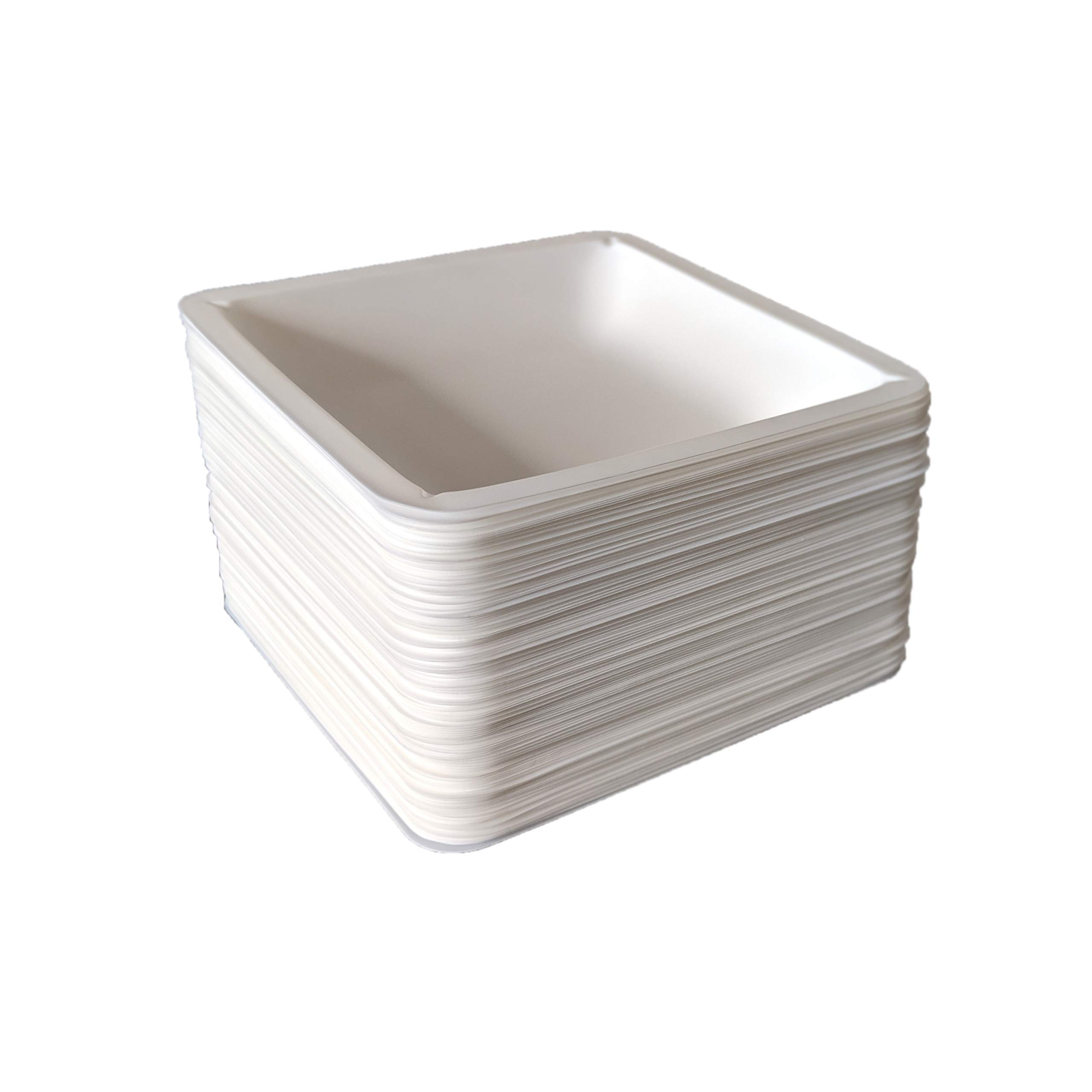 Plastic Square Weigh Boats, Large Dish (140 mm x 140 mm x 22 mm) [Pack of 125] by Bartovation