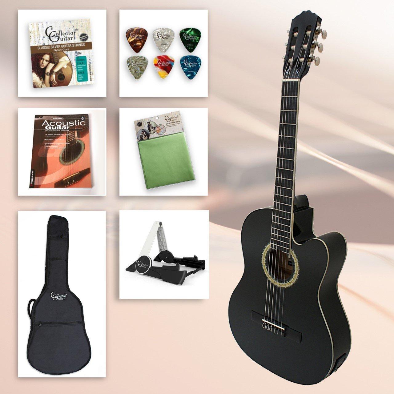 Set de guitarra de principiantes Black Kiss - 4/4 Guitarra Negro eléctrico de concierto con accesorios, soporte para guitarra, guitarra con forro funda, ...