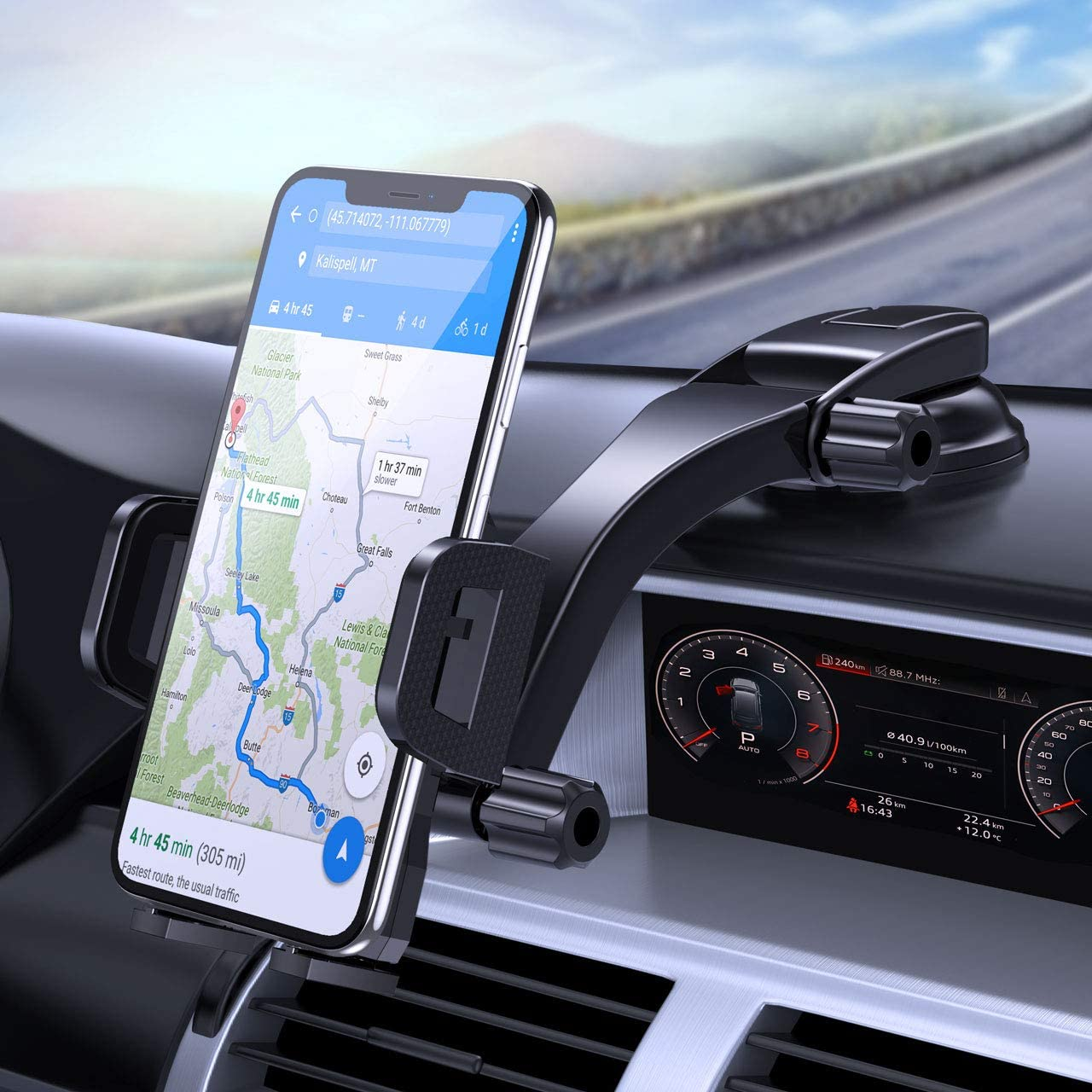 Car Phone Mount, Dashboard Windshield Car Phone Holder No Obstruction View & Strong Sticky Gel Suction Cup, Compatible iPhone 11/11 pro/XS MAX/XS/XR/X/8plus/7/8/6 Galaxy S10/S9/S8,Google etc