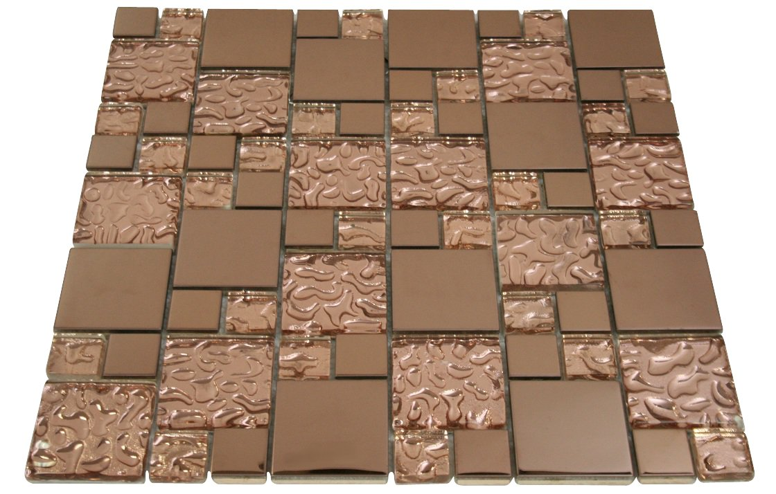 Copper Raindrop and Copper Metallic Square Glass Mosaic Tiles for Bathroom and Kitchen Walls Kitchen Backsplashes (Free Shipping)