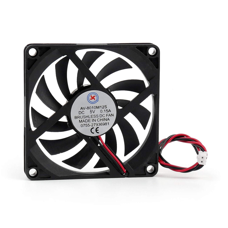 Artudatech 1Pcs DC Brushless Cooling Fan 5V 0.15A 8010S 80x80x10mm 2 Pin Cup Computer Fan