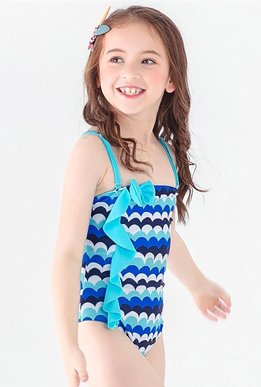 Happy Cherry Kids Girls One Piece Swimwear Cute Ruffled Printed Bathing Suit