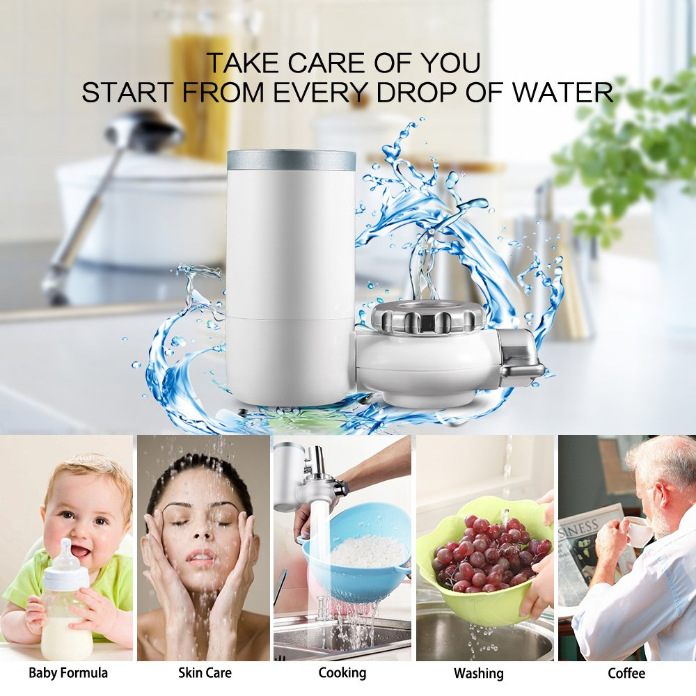 Kaleidoscope Faucet Water Filter, 8 Stage Water Filtration Faucet Mount, 7 Different Kinds of Interfaces, Suitable for Most Faucets, Easy to Install, Large Filtration Discharge System White and Bule by Kaleidoscope (Image #3)