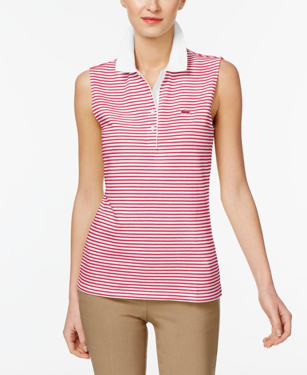 61a5bfc08 Galleon - Lacoste Women s Sleeveless Striped Ottoman Pique Polo ...