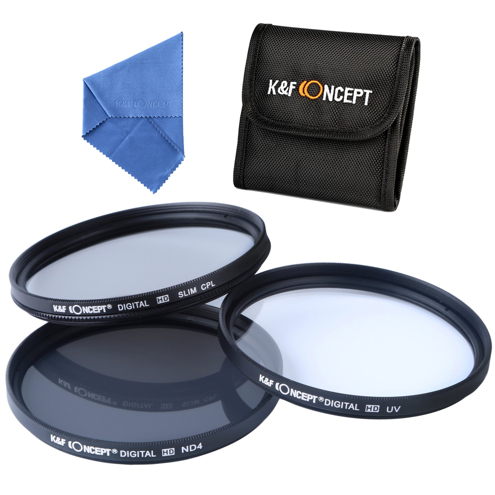 K&F Concept 52mm Professional Photography Filter Kit (UV, CPL Polarizer, Neutral Density ND4) for Camera Lens + Filter Case + Cleaning Cloth