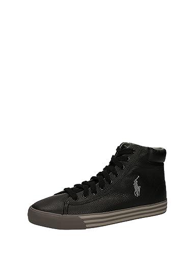 POLO RALPH LAUREN HARVEY MID chaussures noires baskets homme mi peau 40   Amazon.fr  Chaussures et Sacs ec5e9dc91f4