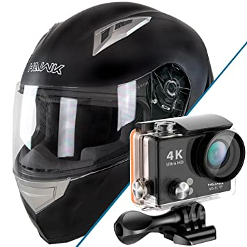 Hawk H-500 soporte de negro Full Face casco de Bluetooth con Hawk H20 Cámara