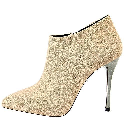 Botas de Tobillo para Mujer con Tacón de Aguja Tipo Punta 2018 con Cremallera Vestidos Zapatos: Amazon.es: Zapatos y complementos
