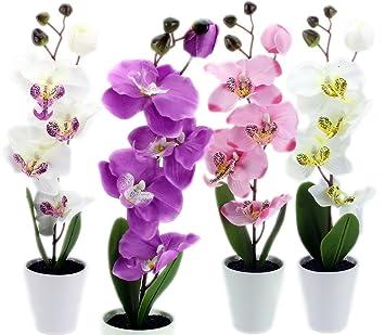 Amazon De Gyd Deko Orchideen Kunstpflanzen Rispen Mit Topf Ca