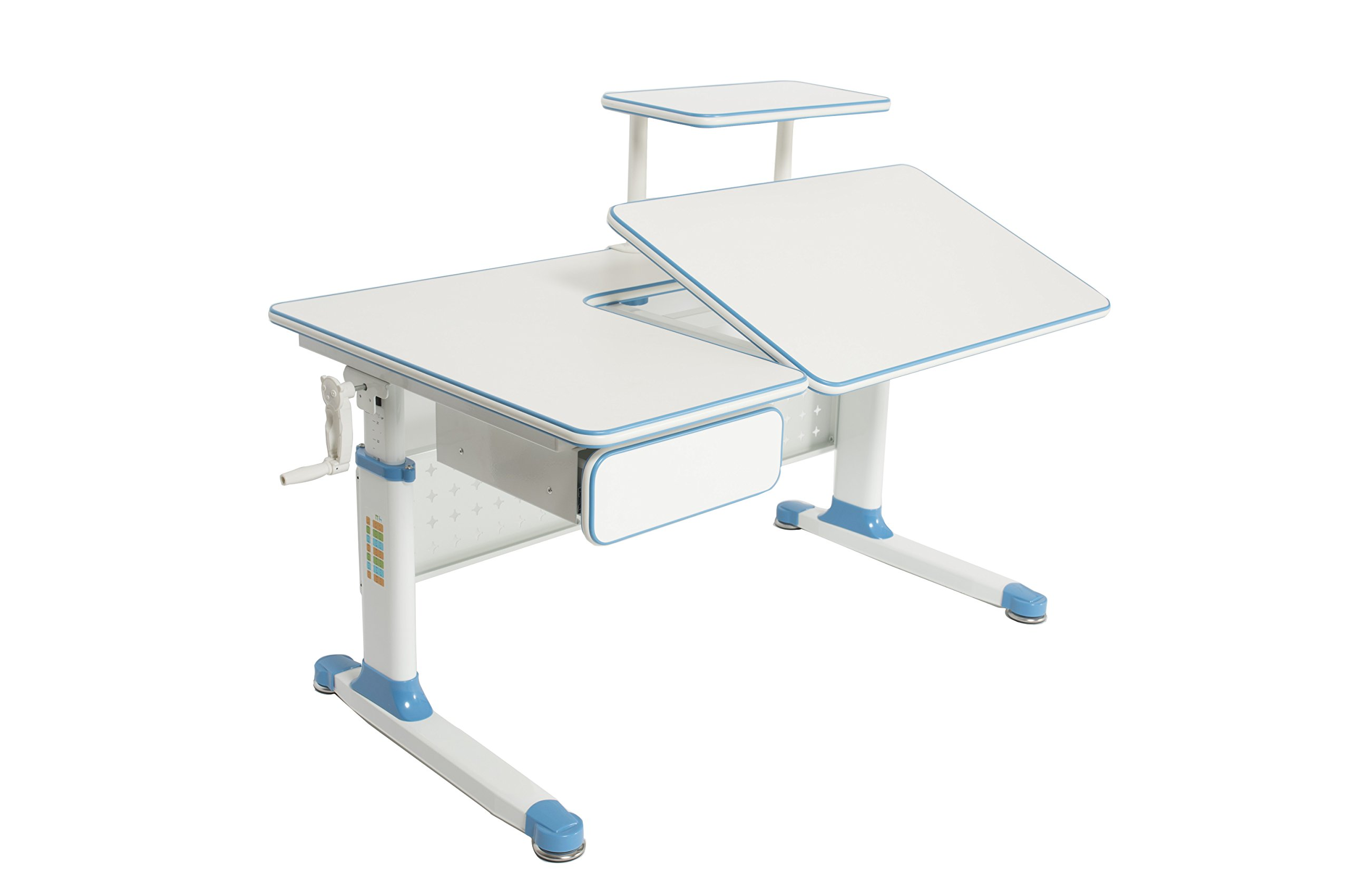 ApexDesk Little Soleil Dx 43'' Children's Height Adjustable Study Desk W/ Integrated Shelf & Drawer (Blue), Denim Blue