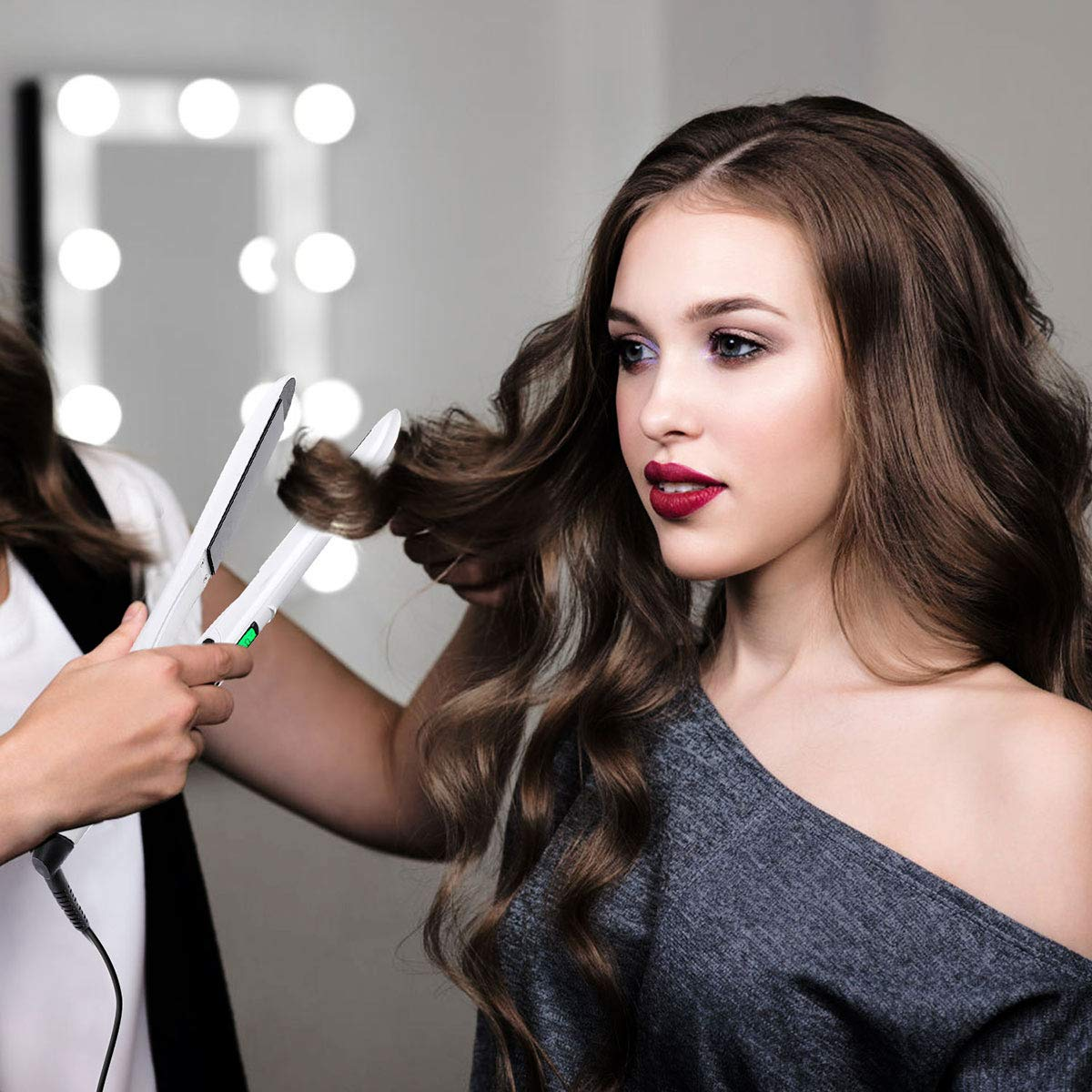 Flat Iron for Hair, 2 in 1 Hair Straightener & Curler with Digital LCD Display - White