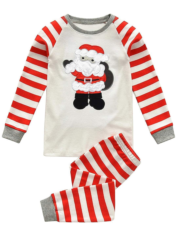 Qzrnly Kids Christmas Pyjamas Sets Baby Boys Girls Cotton Pjs Xmas Sleepwear T Shirts Tops & Pants Pajamas Sets Nightwear Homewear Outfit Age 2 to 8 Years