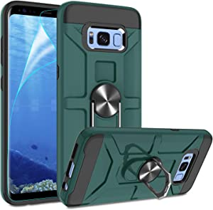 Galaxy S8 Case with HD Screen Protector, Atump 360° Rotation Ring Holder Kickstand [Work with Magnetic Car Mount] PC+ TPU Phone Case for Samsung Galaxy S8, Midnight Green