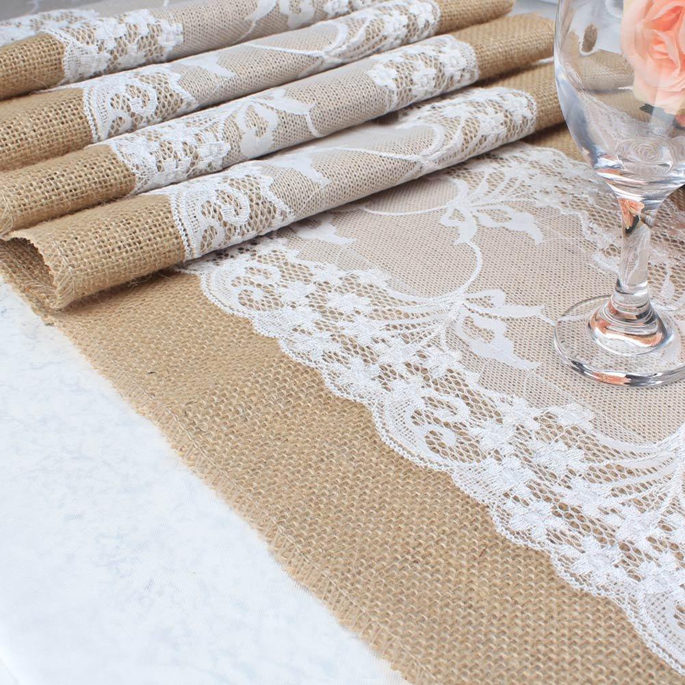 aytai elegante de arpillera y encaje blanco camino de mesa rústico yute Natural camino de mesa para bodas fiestas ceremonias eventos 12 por cortinas con: ...