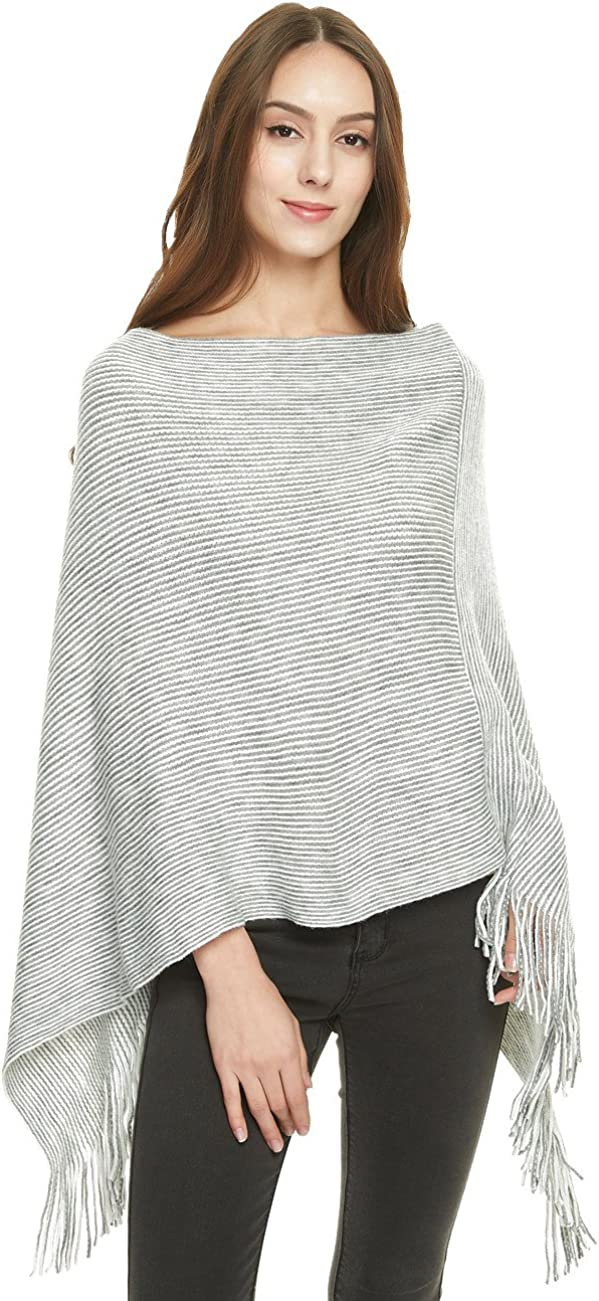 Ferand Damen Weich Poncho Cape Strick Zweiwege-Ausschnitt Fransen Schal
