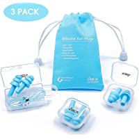 Reusable Silicone Ear Plugs - ANBOW Waterproof Hypoallergenic Noise Reduction Earplugs for Sleeping, Swimming, Snoring, Concerts, 32dB Highest NRR, 3 Pairs with Bonus Travel Pouch