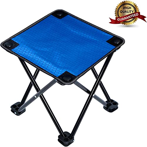 Mini Portable Folding Stool,Outdoor Folding Chair for Camping,Fishing,Travel,Hiking,Garden,Beach, Quickly-Fold Chair Oxford Cloth with Carry Bag Blue, 11.4