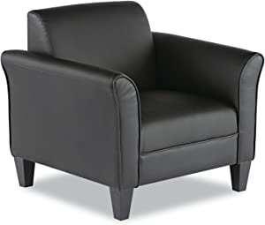 Alera ALE Reception Lounge Series Club Chair, Black/Black Leather
