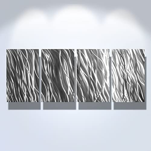 Miles Shay Metal Wall Art, Modern Home Decor, Abstract Wall Sculpture- Silver Reef