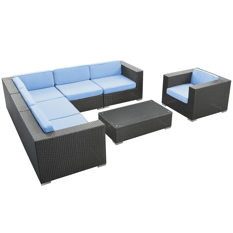 Corona 7 Piece Outdoor Patio Sectional Set, Espresso Light Blue