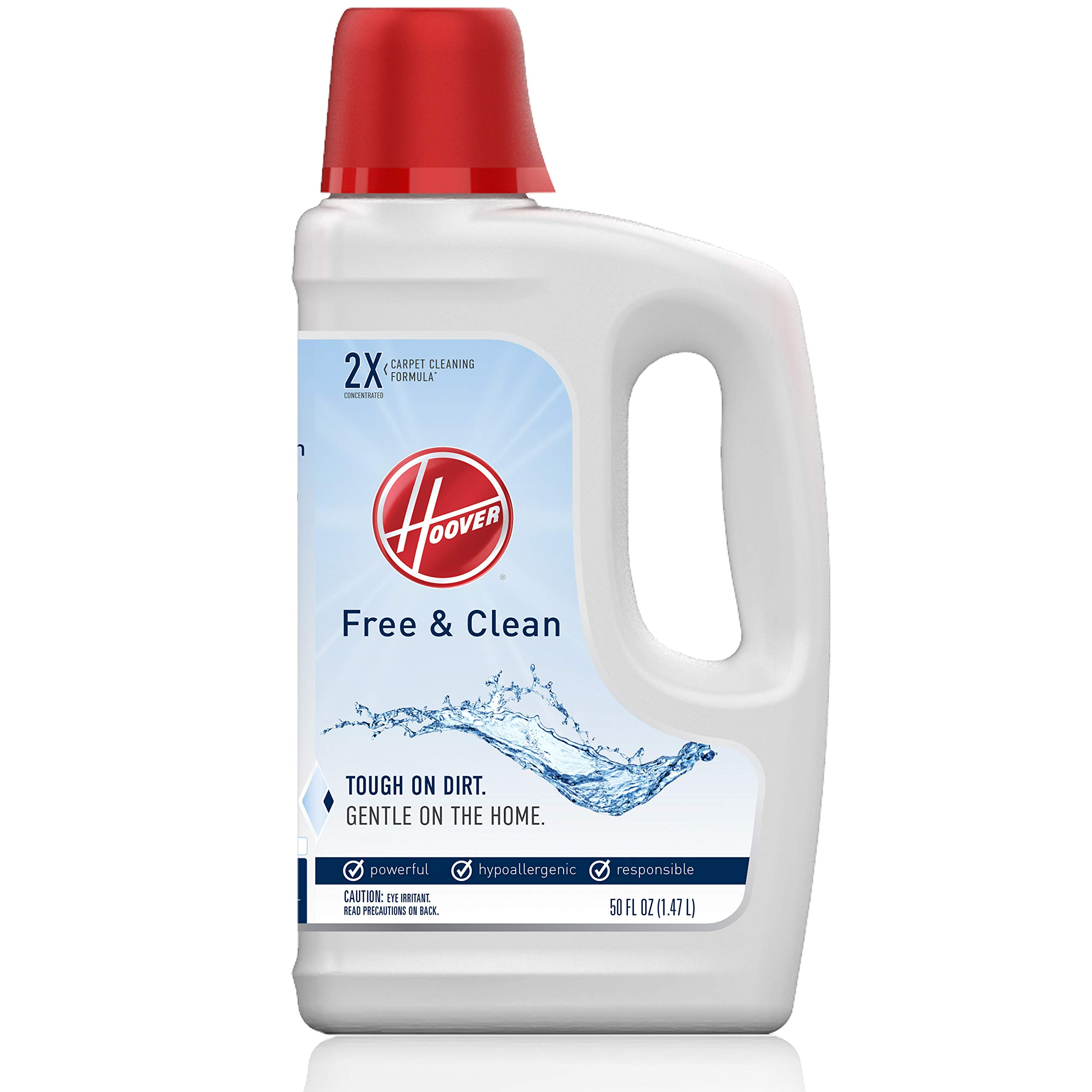 Hoover Free & Clean Deep Cleaning Carpet Shampoo, Concentrated Machine Cleaner Solution, 50oz Hypoallergenic Formula, AH30952, White