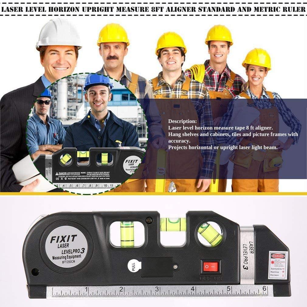 Niveau laser Horizon Montant Mesure 8FT Aligner Standard et M/étrique R/ègle Multi-mesure Mesurer Niveau Laser Noir