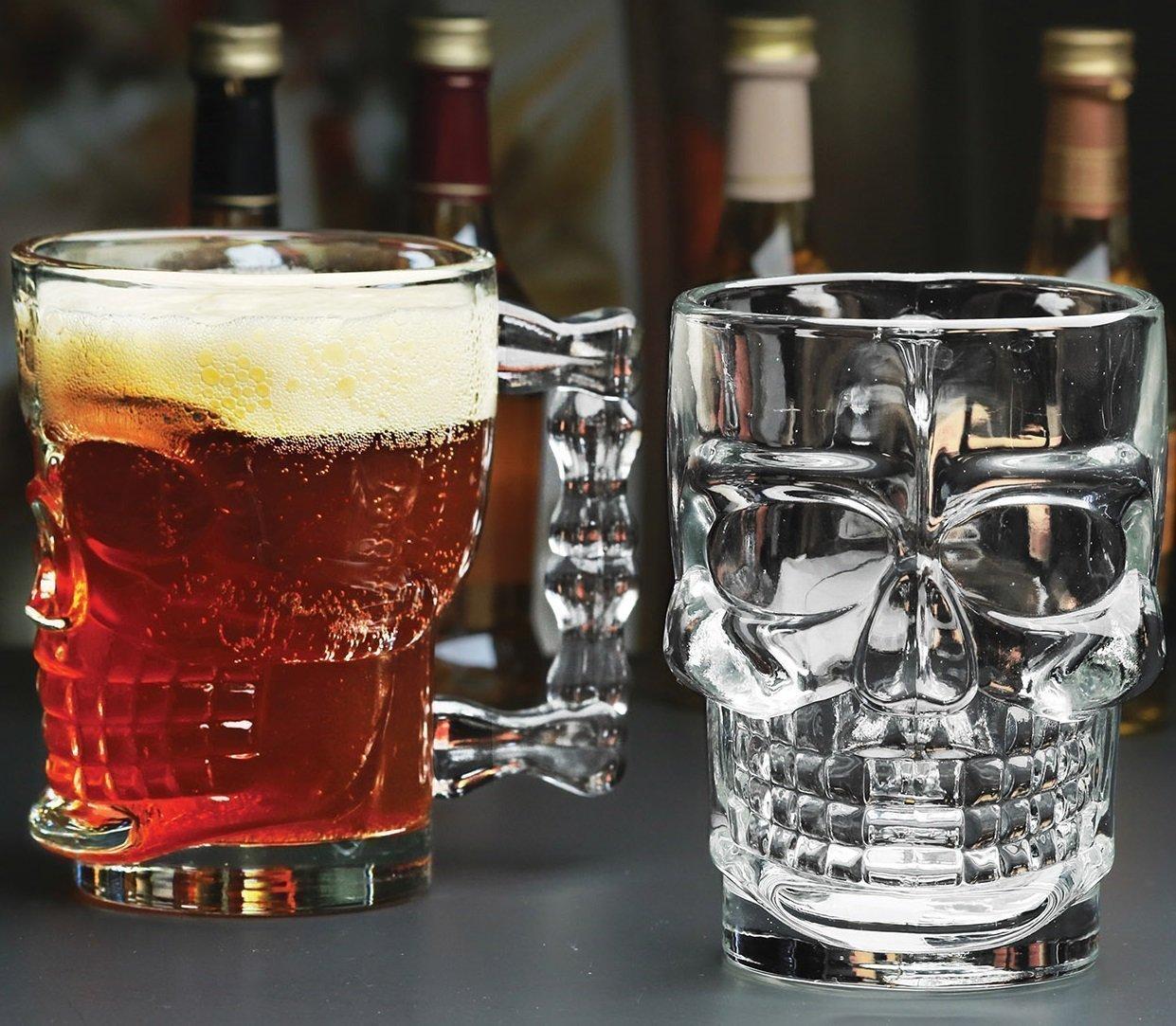 Classic Glass Beer Draft Mug glasses, ★ HALLOWEEN SKULL ★ , Set of 4, Glassware Solid Handled Clear Drinking Mugs, HC 3521