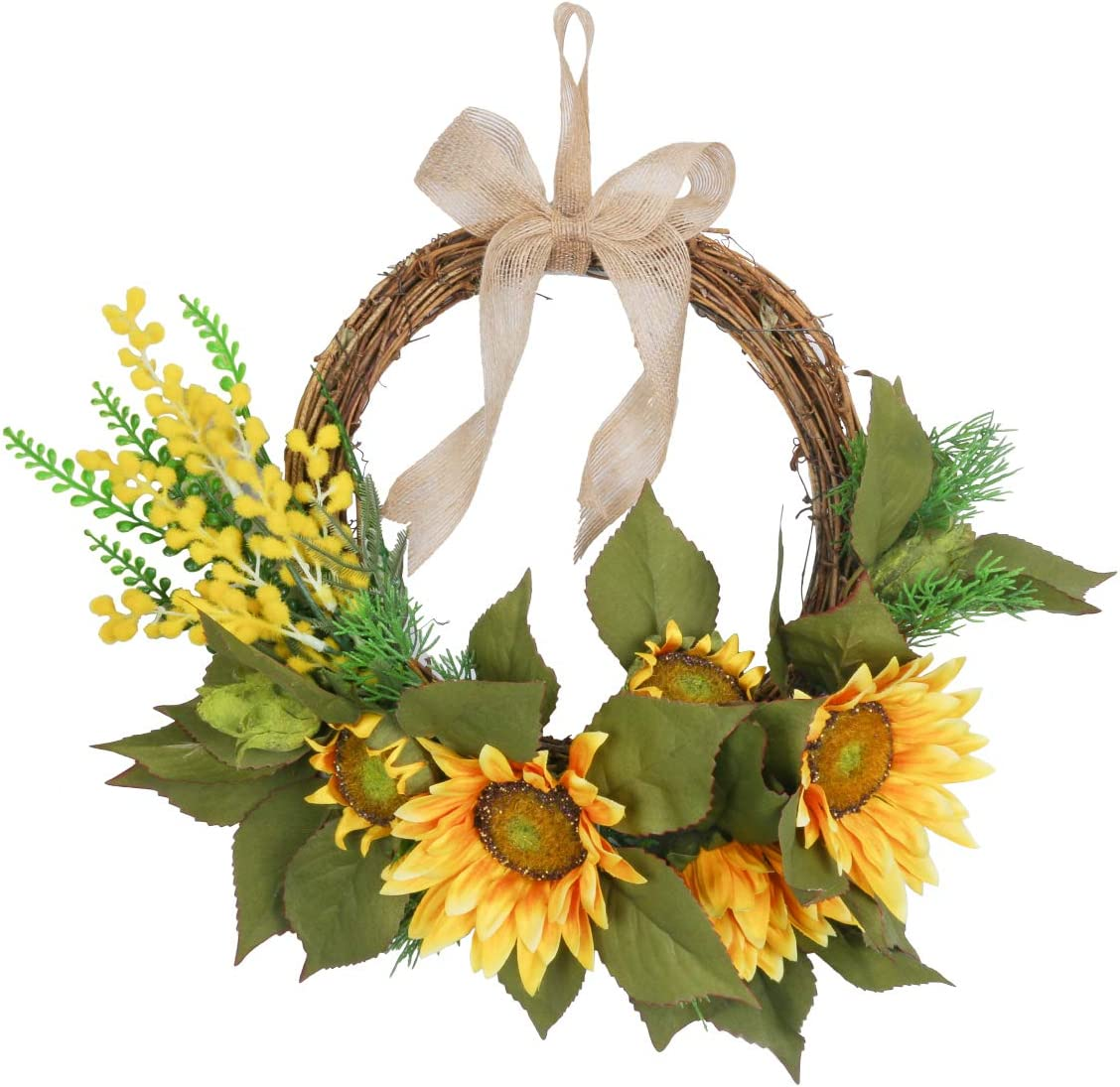 "HiiARug Artificial Sunflower Wreath, 15"" Yellow Door Wreath with Burlap Bow Green Leaves Floral Wreaths for Front Door Home Party Wall Wedding Party Farmhourse Decor (15"" Sunflower)"