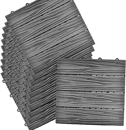 Sienoc Sets De Dalles De Terrasse Bois Composite Wpc Jardin 22x300 300 22mm Bande Grise