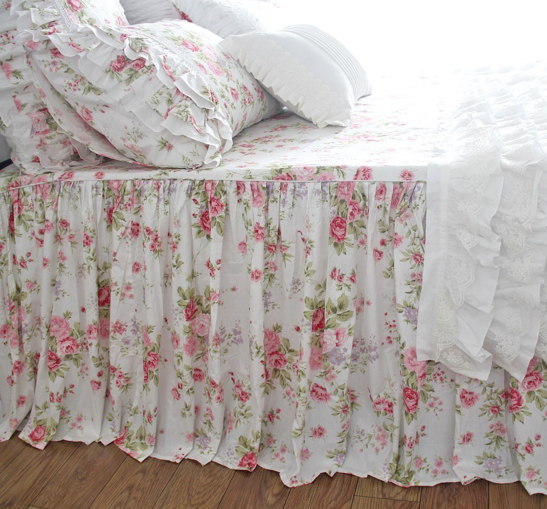 Shabby Rose Floral Bedspreads Coverlet Chic Printed Bedspread Bedskirts