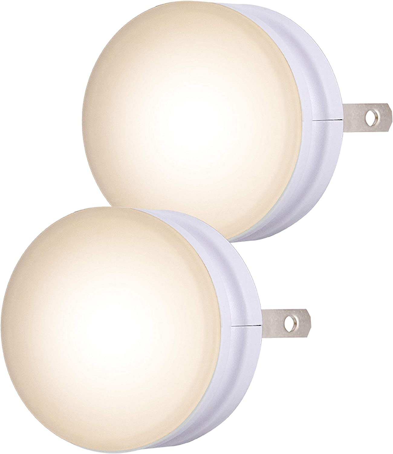 Lights by Night GLO Dot LED Night, 2 Pack, Dusk-to-Dawn Sensor, Soothing Guide Light, for Seniors, Ideal for Bedroom, Bathroom, Guest Room, Hallway, Nursery, Basement, 43950, White, 2