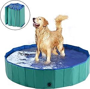 "PawHut Dog Bathing Tub 12"" x 56"" Collapsible PVC Pet Foldable Swimming Pool"