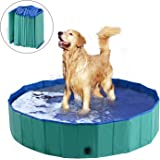 PawHut Dog Bathing Tub Collapsible PVC Pet Foldable Swimming Pool Green/Blue