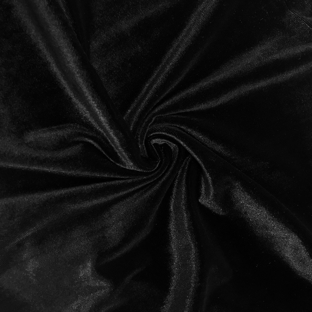 Stretch Velvet Fabric 60'' Wide by the Yard for Sewing Apparel Costumes Craft (10 YARD, Black)