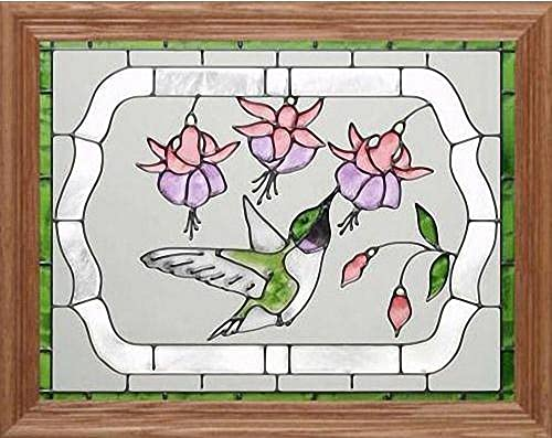 Hummingbird Fuchsia 16.5 Wide x 13.5 High Hand Painted Art Glass Panel