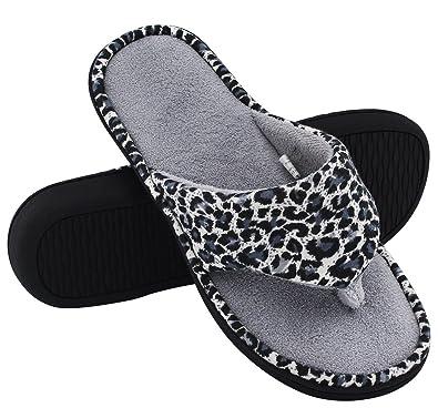 5d0b70f1f42 HomeTop Women s Leopard Coral Fleece Memory Foam Spa Thong Flip-Flop Indoor    Outdoor House Slippers - Leopard Gray - 6-7.5 UK   Large  Amazon.co.uk   Shoes ...