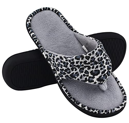 eb0eafc74fed0c HomeTop Women s Leopard Memory Foam Spa Thong Flip Flops Indoor House  Slippers (9-10
